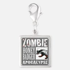 Zombie Honey Badger Silver Square Charm