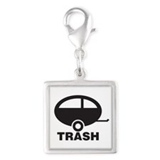 Trailer Trash Silver Square Charm