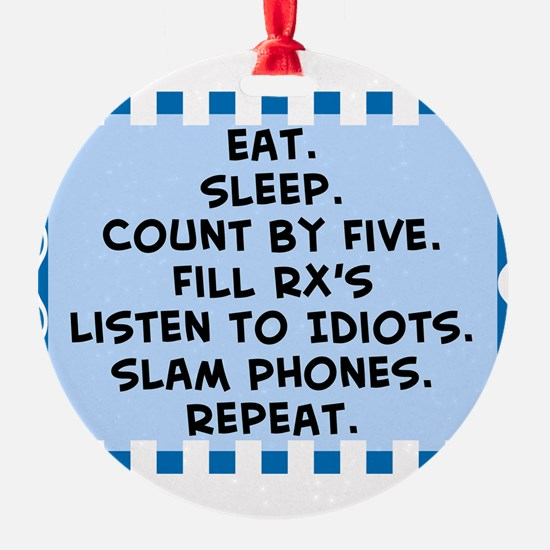 Pharmacist eat sleep blanket.PNG Ornament