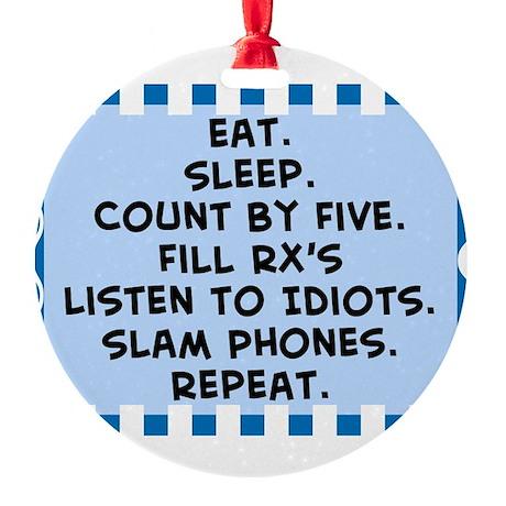 Pharmacist eat sleep blanket.PNG Round Ornament