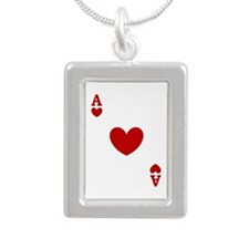 card ace of hearts.png Silver Portrait Necklace