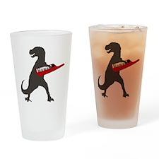 T-Rex Playing the Keytar Drinking Glass