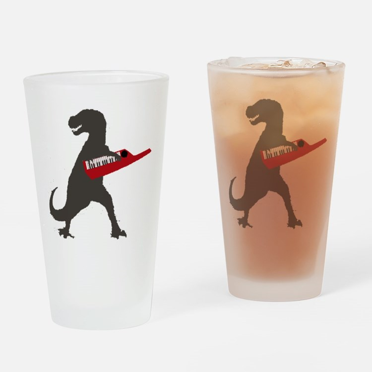 T-Rex Playing the Keytar Drinking Glass