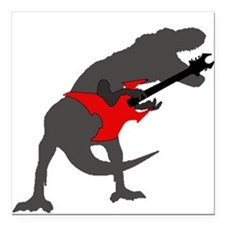 """T-rex Playing the Guitar Square Car Magnet 3"""" x 3"""""""