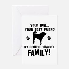 Chinese Shar-Pei dog breed designs Greeting Card