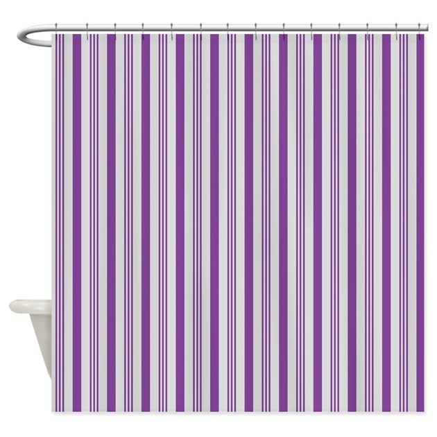 purple and grey stripes pattern shower curtain by