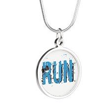 Grunge RUN Silver Round Necklace