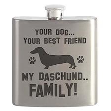 Daschund dog breed designs Flask