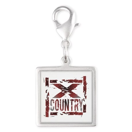 Cross Country Silver Square Charm