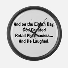 Retail pharmacists god created.PNG Large Wall Cloc