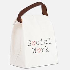 Social Work Hearts Canvas Lunch Bag