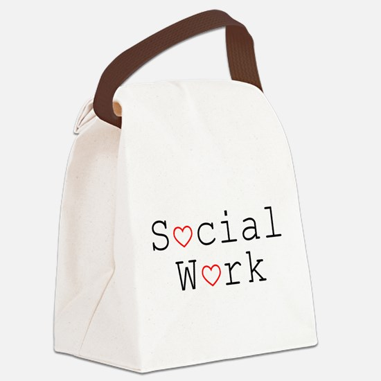 Social Work Hearts Canvas Lunch Bag