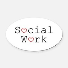 Social Work Hearts Oval Car Magnet
