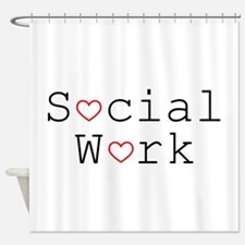 Social Work Hearts Shower Curtain