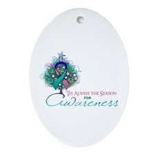 Thyroid Cancer Ribbon Xmas Tree Ornament (Oval)