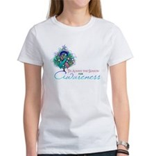 Thyroid Cancer Ribbon Xmas Tree Tee