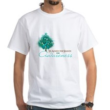 Teal Ribbon Xmas Tree Shirt