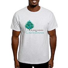 Teal Ribbon Xmas Tree T-Shirt