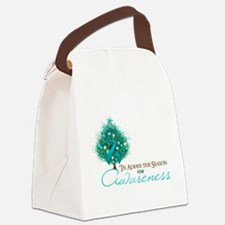 Teal Ribbon Xmas Tree Canvas Lunch Bag