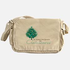 Teal Ribbon Xmas Tree Messenger Bag