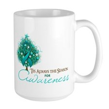 Teal Ribbon Xmas Tree Mug