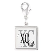 Cross Country XC Silver Square Charm