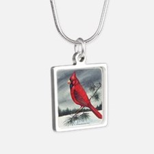 Cardinal Bird Silver Square Necklace
