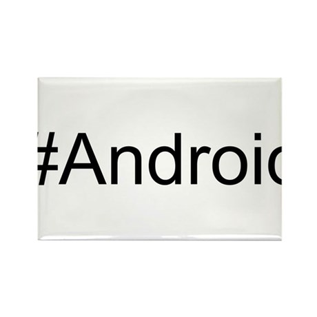 #Android hash tag Rectangle Magnet