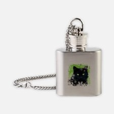 BLACK CAT & SNOWFLAKES Flask Necklace