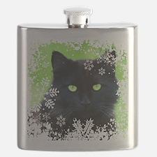 BLACK CAT & SNOWFLAKES Flask