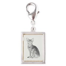 Black and White Aby Silver Portrait Charm