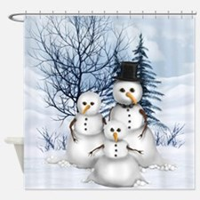 Snowman Family Shower Curtain
