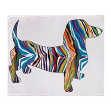 Psychedelic Doxie Dachshund Throw Blanket