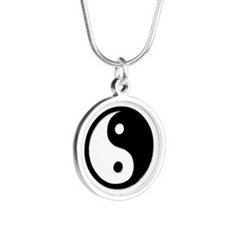 Black Yin Yang Silver Round Necklace