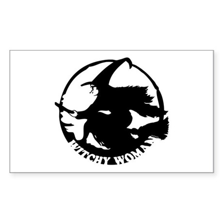 Witch Woman (black & white) Rectangle Sticker