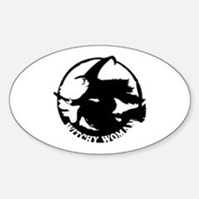 Witch Woman (black & white) Oval Decal