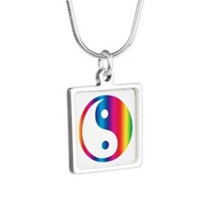 Rainbow Yin Yang Silver Square Necklace