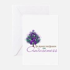 Purple Ribbon Xmas Tree Greeting Cards (Pk of 10)