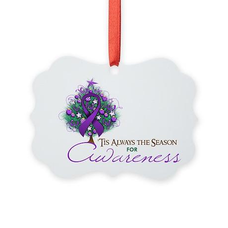 Purple Ribbon Xmas Tree Picture Ornament