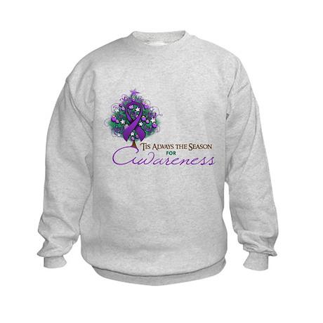 Purple Ribbon Xmas Tree Kids Sweatshirt