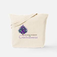 Purple Ribbon Xmas Tree Tote Bag