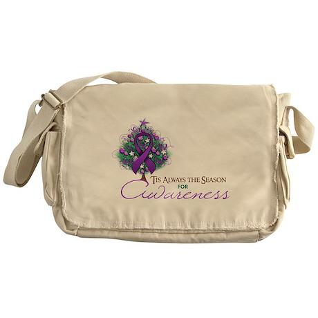 Purple Ribbon Xmas Tree Messenger Bag