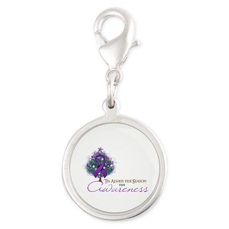 Purple Ribbon Xmas Tree Silver Round Charm