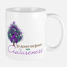 Purple Ribbon Xmas Tree Mug
