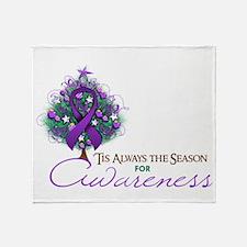 Purple Ribbon Xmas Tree Throw Blanket