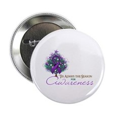 "Purple Ribbon Xmas Tree 2.25"" Button"