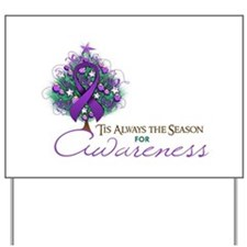 Purple Ribbon Xmas Tree Yard Sign