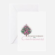 Pink Ribbon Xmas Tree Greeting Cards (Pk of 20)