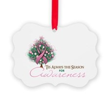 Pink Ribbon Xmas Tree Picture Ornament