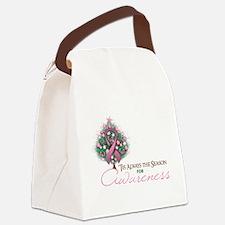 Pink Ribbon Xmas Tree Canvas Lunch Bag